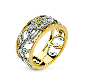 Simon G Diamond Floral Ring in 18K White and Yellow Gold MR1000