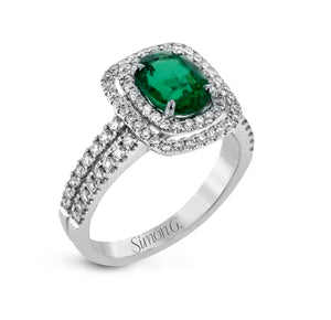 Simon G MR1920-A Emerald and Diamond Ring in White Gold