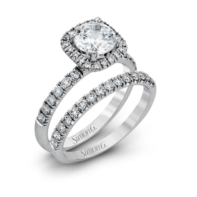 Simon G MR132 Diamond Engagement Ring and Band in Platinum