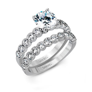 Simon G MR2566 Diamond Engagement Ring and Band in White Gold