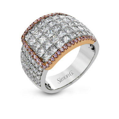 Simon G Nocturnal Sophistication White and Pink Diamond Ring in Rose and White Gold