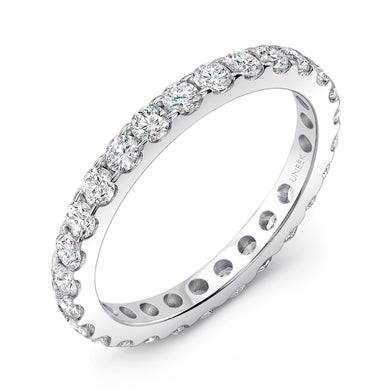 Uneek Round Diamond Eternity Band 1.04 Carats in 14K White Gold