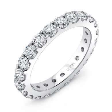 Uneek Round Diamond Eternity Band 2.0 Carats in 14K White Gold