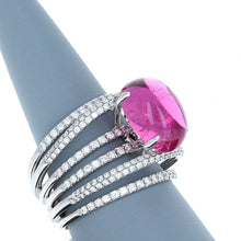 Rubellite and Diamond Ring in 18K White Gold