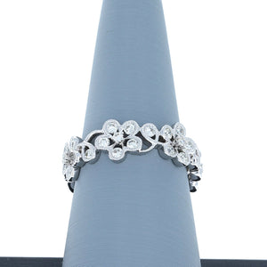 Diamond Band with Floral Design in 18K White Gold