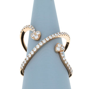 Diamond Cross Over Double Heart Ring in 18K Rose Gold