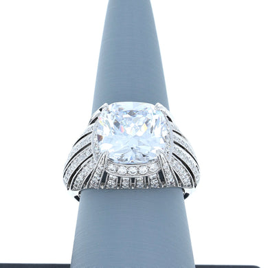 Diamond Semi-Mount Ring in 18K White Gold for 11mm Cushion Cut Center Stone