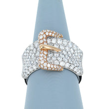 Diamond Buckle Ring in 18K White and Rose Gold