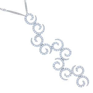 Diamond Swirls Pendant in 18K White Gold