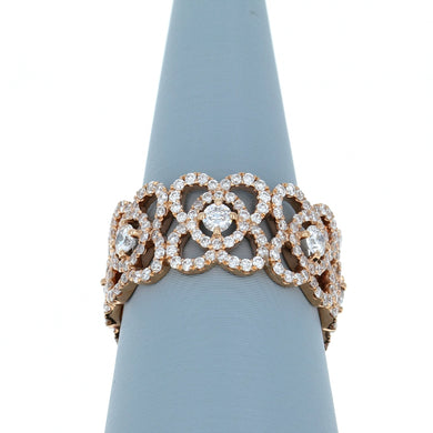 Diamond Eternity Ring with Flower Detail in 18K Rose Gold