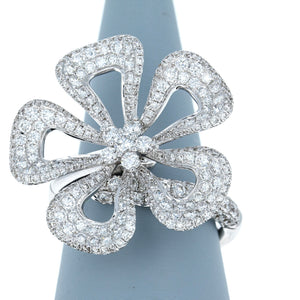 Diamond Plumeria Flower Ring in 18K White Gold