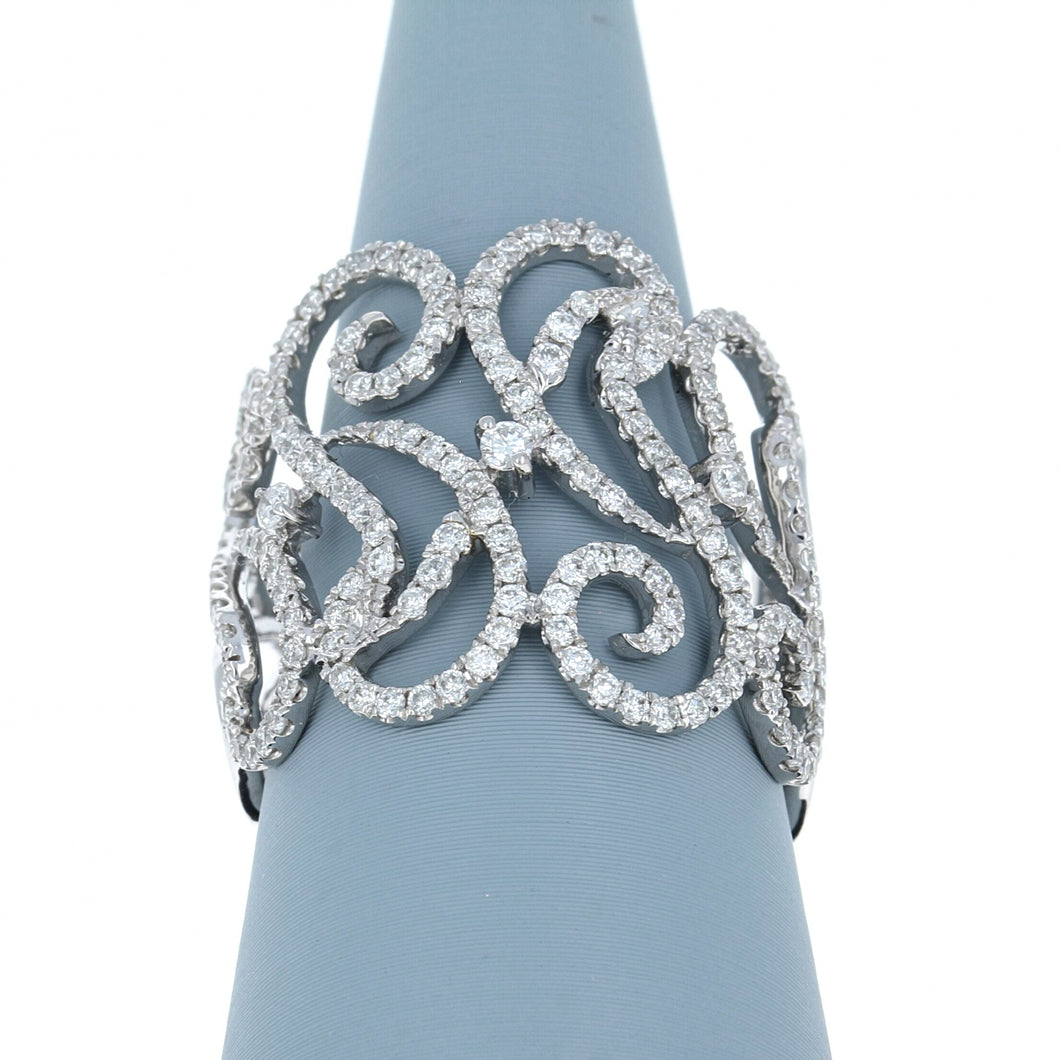 Diamond Scrollwork Band in 18K White Gold