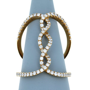Diamond Vertical Twist Ring in 18K Yellow Gold