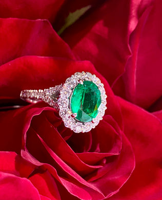Simon G Emerald and Diamond Ring in 18K White Gold MR2889