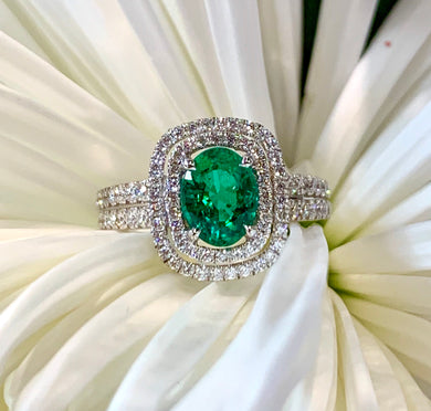 Simon G Emerald and Diamond Ring in 18K White Gold MR1920-A