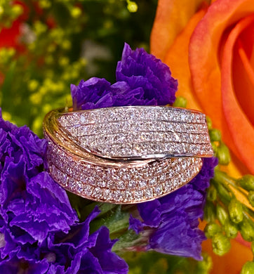 SimonG Diamond Ribbon Ring in 18K Rose and White Gold LR2364