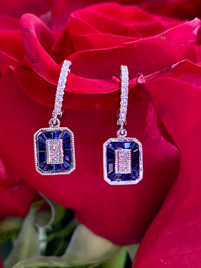 Simon G Sapphire and Diamond Art Deco Earrings in 18K White Gold LE4569