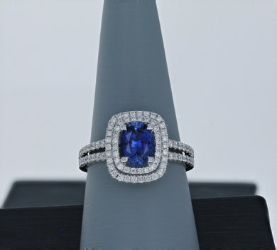 Simon G Sapphire and Diamond Ring 18K White Gold MR1920