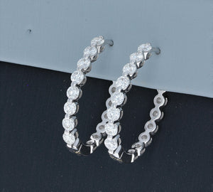 Simon G Diamond Hoop Earrings in 18K White Gold .97TW LE4547