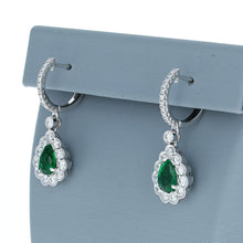 Simon G ME1938 Emerald and Diamond Drop Earrings in White Gold