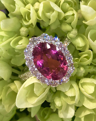 Simon G MR2647 Rubellite and Diamond Ring in White Gold