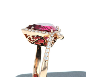 Simon G Rubellite and Diamond Ring in 18K Rose Gold LR2448