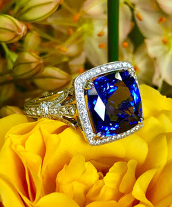 Simon G Tanzanite and Diamond Ring in White Gold TR607