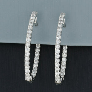 Simon G Diamond Hoop Inside-Out Earrings in 18K White Gold ME1404