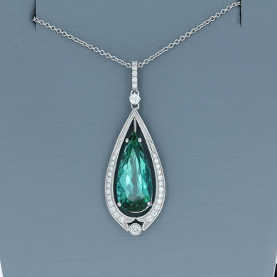 Simon G Green Tourmaline and Diamond Pendant in White Gold TP493