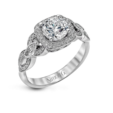 Simon G Engagement Ring Semi Mount in 18K White Gold TR395