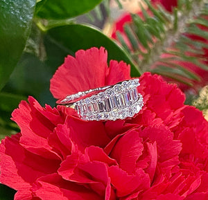 Uneek Diamond Baguette Band 14K White Gold