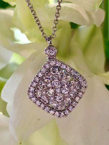 Uneek Bouquet Collection Diamond Cushion Shaped Pendant in 14K White Gold LVN655