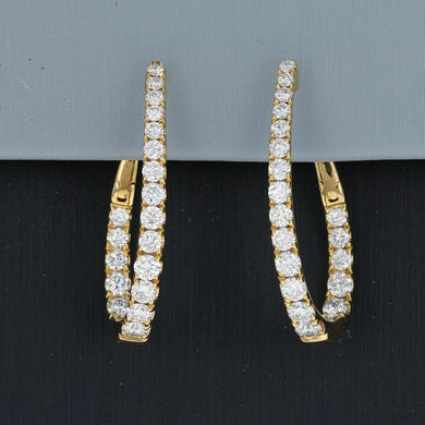 Uneek Oval Diamond Inside-Out Hoop Earrings in 14K Yellow Gold
