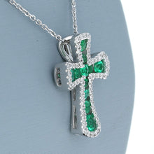 Uneek Emerald and Diamond Cross Pendant in 14K White Gold