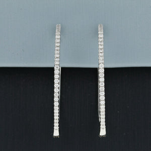 Uneek Octagon Diamond Hoop Earrings in 18K White Gold