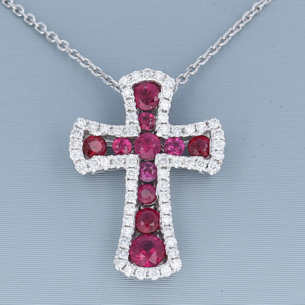 Uneek Ruby and Diamond Cross Pendant in 14K White Gold