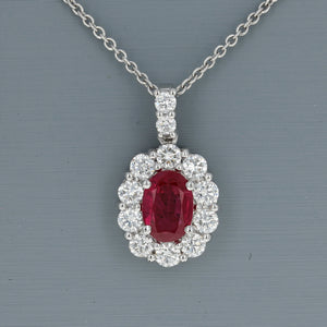 Uneek Ruby and Diamond Pendant in 14K White Gold