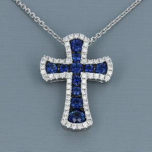 Uneek Sapphire and Diamond Cross Pendant in 14K White Gold