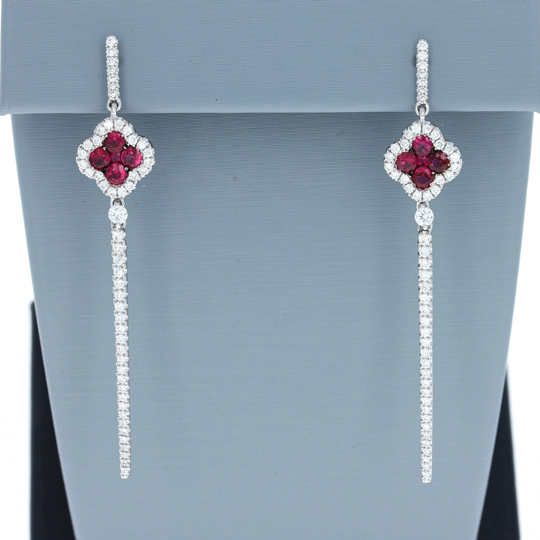 Uneek Ruby and Diamond Drop Earrings in 18K White Gold
