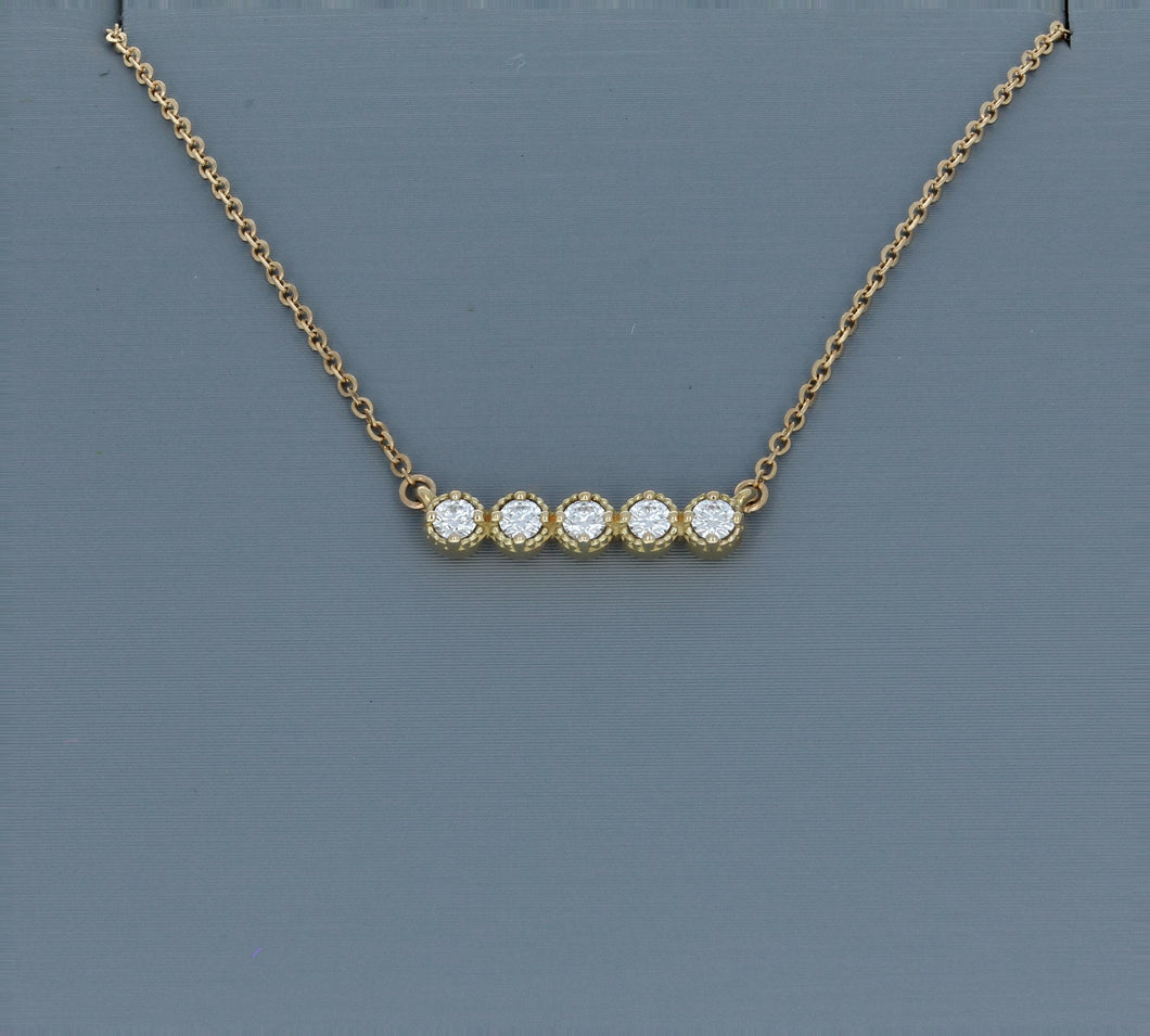 Hearts On Fire Yellow Gold  Liliana Milgrain Diamond Bar Necklace