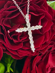 Hearts On Fire Divine Graceful Cross Pendant .70 Total Carats in 18K White Gold
