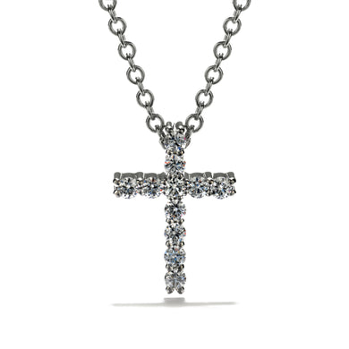 Hearts On Fire Whimsical Cross Pendant .16 Total Carats in 18K White Gold