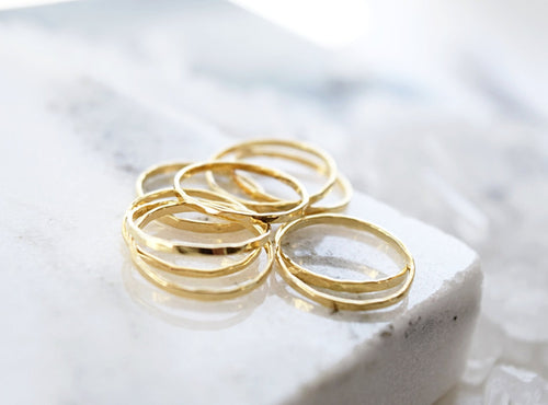 Hammered Stackable Midi Rings
