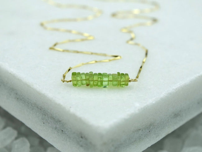 Heishi Birthstone Bar Necklace - August