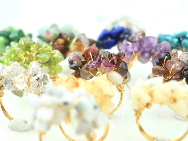 Natural Birthstone Cluster Ring - August