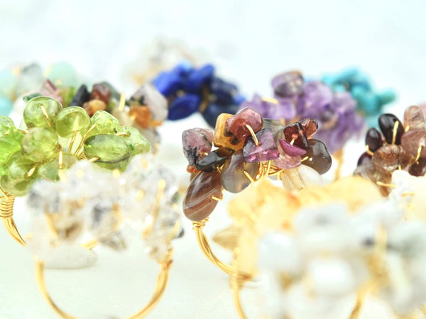 Natural Birthstone Cluster Ring - February