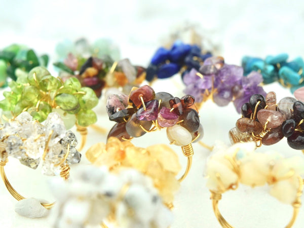 Natural Birthstone Cluster Ring - March