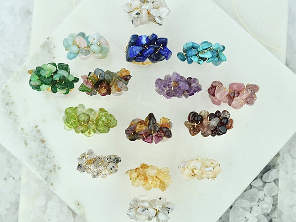 Natural Birthstone Cluster Ring - May