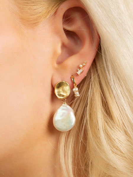 Hazel Huggie Earrings - Pearl
