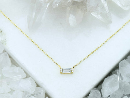 Heishi Birthstone Bar Necklace - October Opal